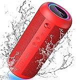 KATMAI E8-L - Altavoz Bluetooth portátil con luz difuminada, IPX65, impermeable, 20 horas de reproducción, doble emparejamiento estéreo inalámbrico, altavoz para casa, al aire libre