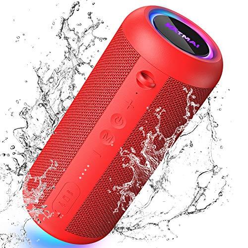 KATMAI E8-L Bluetooth-Lautsprecher tragbar, Bluetooth 5.0, Bassverstärkung, Verlaufslicht, TWS verbesserte IP65 wasserdicht,360° Stereo Dual Paired Heim- und Outdoor-Bluetooth-Lautsprecher,Rot