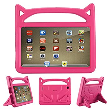 All-New Fire 7 2019 Case,Fire 7 Tablet Case,Riaour Kids Shock Proof Protective Cover Case for Amazon Fire 7 Tablets  Compatible with 5th Generation 2015/7th Generation 2017/9th Generation 2019   Rose