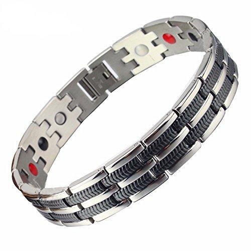 SSC Magnet Armband Edelstahl   silber poliert/schwarz   Magnetarmband (2000+ Gauss)   antiallergener Schmuck (316L Chirurgenstahl)   Ideal als Geschenk (SSC-225)