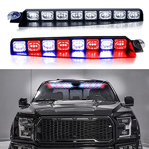 자동차용 내장 윈드실드 선바이저 경고 플래싱 라이트 바의 LED 바이저 비상 스트로브 조명 모든 자동차 트럭 레드 블루용 확장 브라켓 스플릿 마운트 2팩