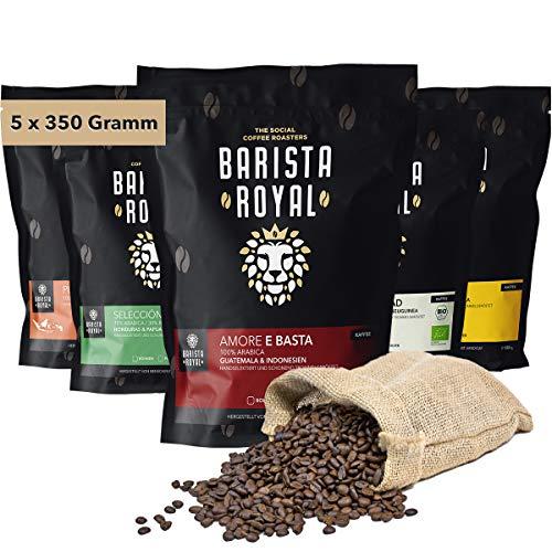 BARISTA ROYAL Kaffee Probierset ganze Bohne 5 x 350g | Kaffeebohnen Entdeckerpaket im Geschenkset | Arabica | fair | Ideal für Vollautomat, Filtermaschine, Handfilter und French Press