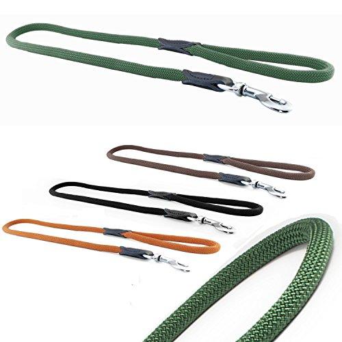 CarlCurt - Classic Line: Hundeleine Aus Strapazierfähigem Nylon, Rund-Kurzleine, Rund, 1,10m, Olive