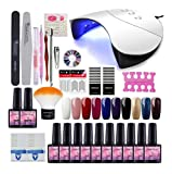 Saint-Acior 36W Lámpara de Uñas UV/LED Curado de Esmalte de Gel 10PCS Esmalte de Uñas Semipermanente Uñas de Gel Kit de Manicura con Base Coat Top Coat 8ML Manicura Pedicura Kit