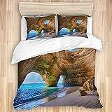 CANCAKA Bedding Juego de Funda de Edredón,Cuevas del Algarve Portugal Pequeña Playa Grandes Cuevas,Microfibra Funda de Nórdica y 2 Fundas de Almohada-(Cama 200x200cm)
