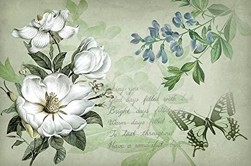 Papel Pintado Pared Papel Flores Blancas Vintage Fotomurales 3d Decoración Papel Tapiz Dormitorio Sala Custom Murales Fondo Pared 250x175cm