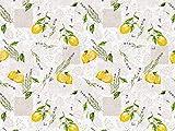 Wachstuch Tischdecke abwaschbar Gartentischdecke Meterware Grau Gelb Zitronen Lavendel Blumen ÖkoTex Fantastik 8052-1 (50 x 140 cm)