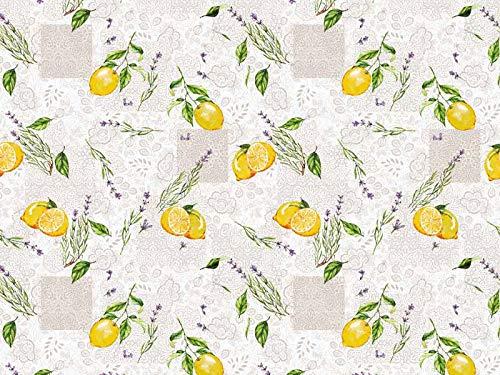 Wachstuch Tischdecke abwaschbar Gartentischdecke Meterware Grau Gelb Zitronen Lavendel Blumen ÖkoTex Fantastik 8052-1 (240 x 140 cm)