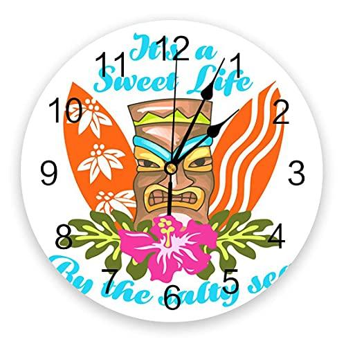 Reloj de pared de 10 pulgadas, reloj silencioso para colgar en la pared que no hace tictac, tabla de surf colorida de Hawaii y relojes de pared con tótem antiguo para la sala de estar de la cocina int