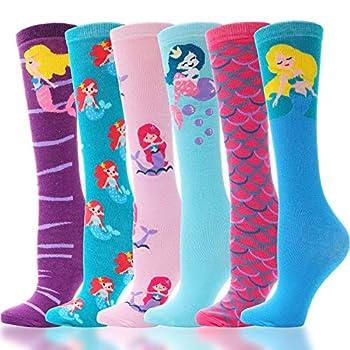 3-12Y Girls Knee High Long Socks for Child 6 Pairs Fun Animal Pattern Tall Cute Crazy Boot Funny Kids Socks(Mermaid-K)