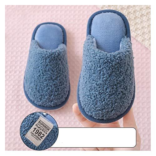 YUTJK Winter Wärme Weiche Pantoffeln Memory Foam Plüsch Futter Hause Indoor rutschfeste Slippers,Süße warme Eltern-Kind-Baumwollschuhe-Blau_20CM