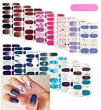 15 Sheets Full Nail Polish Stickers Nails Strips Nail Wraps Decal Street Adhesive False Nail Design Manicure Set with Nail Files for Women Girls (Blue)