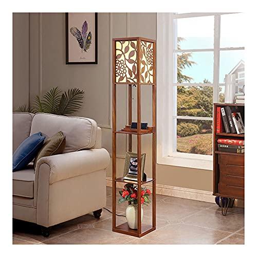 Indoor Oppervlieglamp met planken door hout, moderne plank met stoffen lampenkap en opslagplanken voor woonkamer…
