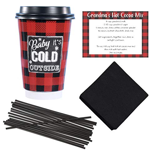 Farmhouse Decor Disposable Coffee or Hot Chocolate Cups (16 oz) with Lids, Napkins, Stir Straws and Recipe - Red & Black Buffalo Plaid - Cocoa Bar Kit Christmas Party Supplie