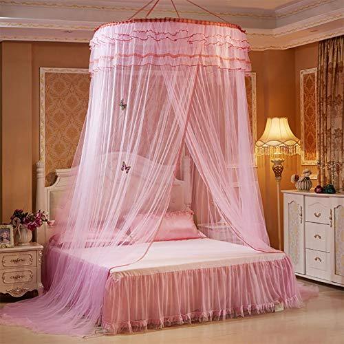 Mosquitera para Cama, mosquitera Estilo Princesa Plegable, Transpirable, Duradera, Elegante para decoración de Dormitorio, para Cortina de Cama, Red(Pink)