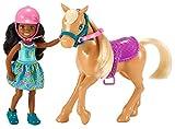 Barbie Chelsea, muñeca morena con su pony, juguete +3 años (Mattel FRL84)