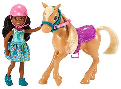 Barbie DYL24 Chelsea Puppe (brunette) und Pferd
