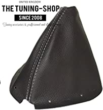 The Tuning-Shop Ltd for Infiniti G35 Coupe 2002-2007 Shift Boot Black Genuine Leather Grey Stitching