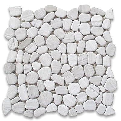Stone Center Online Athens Silver Cream Haisa Light White Wood Vein Marble Pebble Stone River Rocks Mosaic Tile Tumbled Kitchen Backsplash Non Slip Bathroom Shower Floor Tile