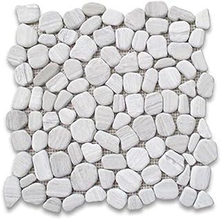Stone Center Online Athens Silver Cream Haisa Light White Wood Vein Marble Pebble Stone River Rocks Mosaic Tile Tumbled Ki...