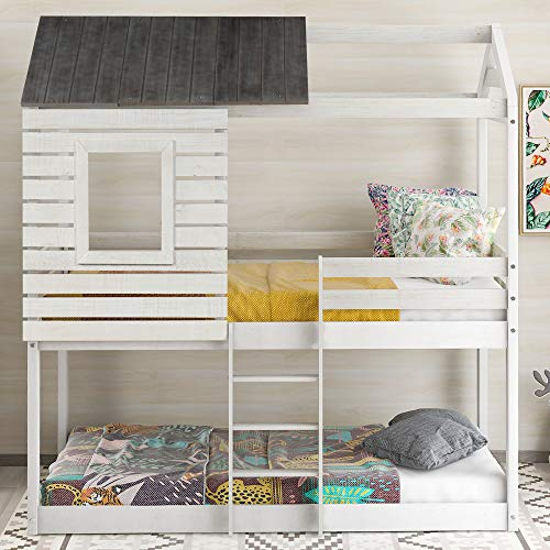 Low Bunk Beds Twin Over Twin Size, Wood Bunk Beds with Roof and Guard Rail for Kids, No Box Spring Needed (Rustic White (Rustic Roof))
