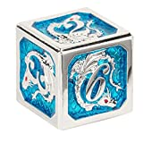 HYMGHO DND Dice Set Metal Silver Dragon with Dragon Scales Enamel Blue with Box dice Storage for Dungeons and Dragons 5th Edition Book Trpg D&D Metal Polyhedral Dice 7 Pieces D20