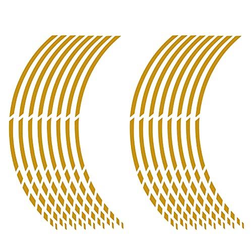 Sticker Mimo Adhesivos para llantas de moto o coche de 15 a 19 pulgadas (38 a 48 cm), color dorado