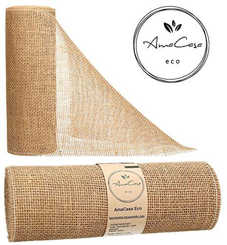 AmaCasa Eco Tischläufer Jute 30cm breit, 10m Rolle | gestärkter Jutestreifen mit kompostierbarem Etikett | Tischband für Tischband für wundervolle Dekorationen in vielen Farben (Natur, 30cm/10m)