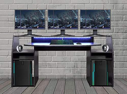 RASANTI Gaming Tisch inkl. LED RGB Beleuchtung, Setup Gamer Ablagen, Ultra Wide TV Monitor geeignet