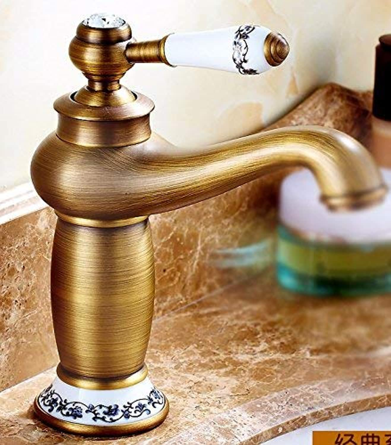 Oudan European Style Retro Style Hot And Cold All Copper Single Handle Single Hole Sink Faucet K