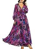 KINGVON Vestido maxi de moda para mujer, estilo bohemio, tropical, floral, manga larga, suelto, elegante, sexy, vestido de fiesta, playa, para cubrir