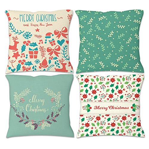 YCNJJB 4pcs Pillow Set Merry Christmas Comfortable Pillow Cases Decoraction -Christmas Pillow Covers with Hidden Zipper for Bookstore White 18x18inch