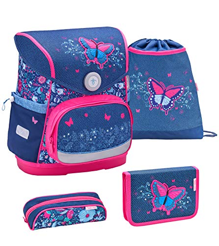 Belmil ergonomischer Schulranzen Set 4 -teilig für Mädchen 1-4 Klasse Grundschule//Brustgurt/Magnetverschluss/Schmetterling, Butterfly/Blau, Blue (405-41 Butterfly Jeans)