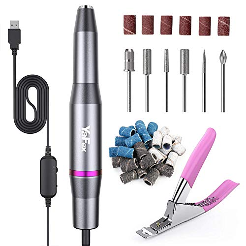 Electric Nail Drill- Professional Portable Manicure Pedicure E-file Kit with Acrylic Fake Nail Clipper for Shaping, Polishing, Removing Acrylic Gel Nails