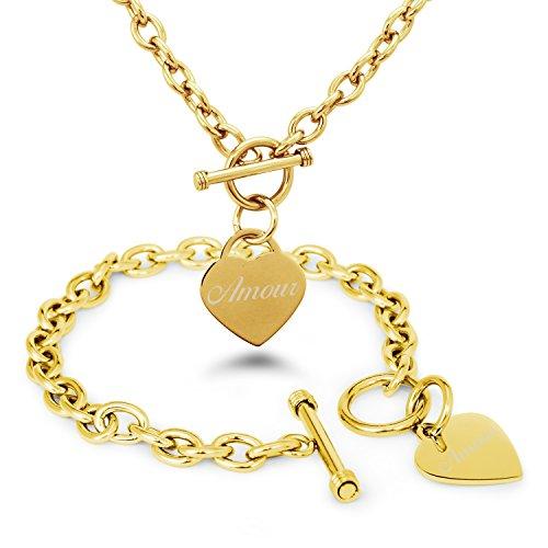Tioneer Placcato Oro Acciaio Inossidabile Amore (in Francese) Inciso Modifica del Cuore Toggle Bracciale e la Collana Set