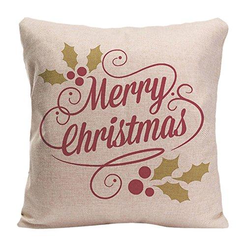 ldj algodón poliéster silla asiento cuadrado manta funda de almohada Funda de cojín (diseño de funda de almohada con Vintage feliz Navidad Guión tipografía Custom almohada impresión de doble cara tamaño 20x 20cm