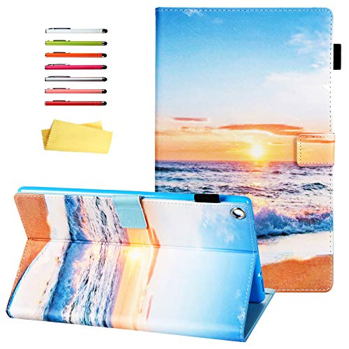 UUcovers Kindle Fire HD 10 (2019/2017) Tablet 10.1 inch Case 9th/ 7th Generation with Pencil Card Holder [Auto Wake/Sleep] Smart PU Leather Folio Stand Multi-Angle Viewing Cover, Beach Sunrise