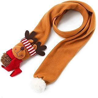Lesirit Christmas Scarf Cute Santa Snowman Reindeer Plush Warm Scarf for Kids and Adult