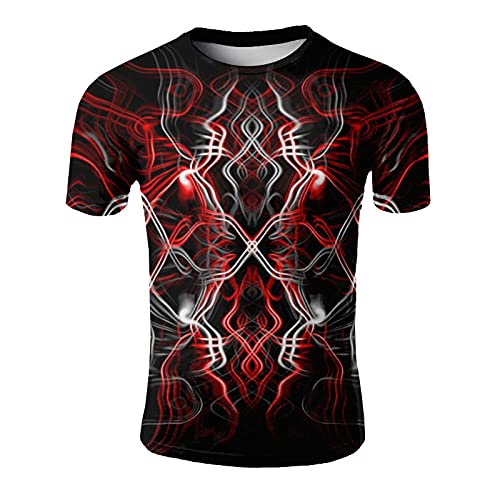 ASHGNV Colored Abstract Lines Camiseta para Hombre con Estampado en 3D, Camisetas Informales de Verano de Secado rápido, Novedad, Camiseta de Manga Corta-XL