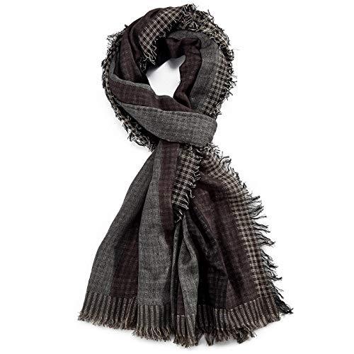 ROYALZ Schal für Herren Halstuch kariert oder gestreift 100% Baumwolle Herrenschal Tuch Männer-Schals Streifen Karo leicht weich - ganzjährig, mehrfarbig, Farbe:Schwarz/Grau/Braun
