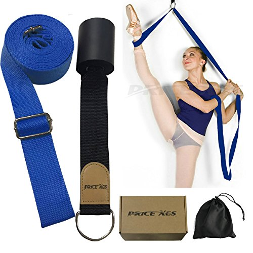 Cinghia tendi-gamba per stretching, con fissaggio a porta, attrezzatura per stretching per danza, balletto, ginnastica, taekwondo e arti marziali-, Blue, 1