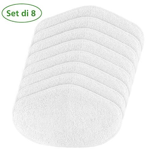 Funnytime Vadrouilles de rechange lavables pour brosse PAEU0332 Polti Vaporetto Vaporforce pour toutes les surfaces, lot de 8