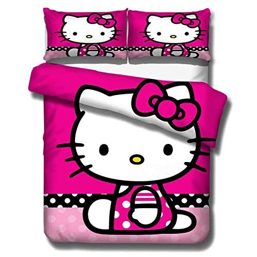 Goplnma - Ropa de cama infantil con estampado 3D de Hello Kitty, microfibra, con funda de almohada, multicolor (135 x 200 cm, 1)