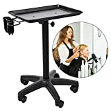 Adjustable Height Rolling Mobile Instrument Aluminium Tray Trolley, Salon Beauty Hair Service Tool Storage Utility Carts (Black)