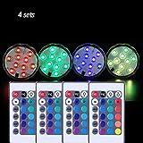 XXDYF LED Aquarium Tauchlampen, Unterwasserleuchten, 4 stücke 10 LEDs RGB Fernbedienung Spot Licht...