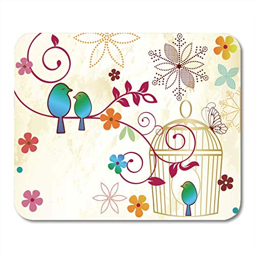 Gaming Mouse Pad Green Whimsical Birds on Branch by Cage Flower Vintage Abstract Bloom Rectangle Mouse Mat Non Slip Rubber Base MousePads for Computers Laptop
