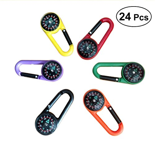STOBOK 24pcs Compass Climbing Carabiner Outdoor Self Locking Carabiner Clip Hook Keychain for Travelling Hiking