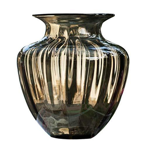 ZXL Vaas met gedroogde glazen bloem voor gedroogde bloemen Vaas voor hydrocultuur planten 29cm hoog, ideale decoratie voor kantoor en bruiloft feest thuis, grijs/amber (kleur: amber)