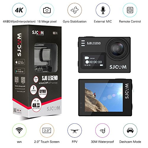 Orignal SJCAM SJ6 LEGEND Dual Screen 2″ LCD Touch Screen 2880×2160 Novatek NT96660 Panasonic MN34120PA CMOS 4K Ultra HD Sport DV Action Camera Black+extra 1 battery
