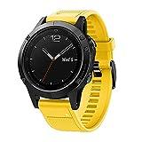 HappyTop - Correa de Silicona de liberación rápida para Reloj Inteligente Garmin Fenix 5 GPS, Estilo Deportivo, Color Amarillo, Deportes